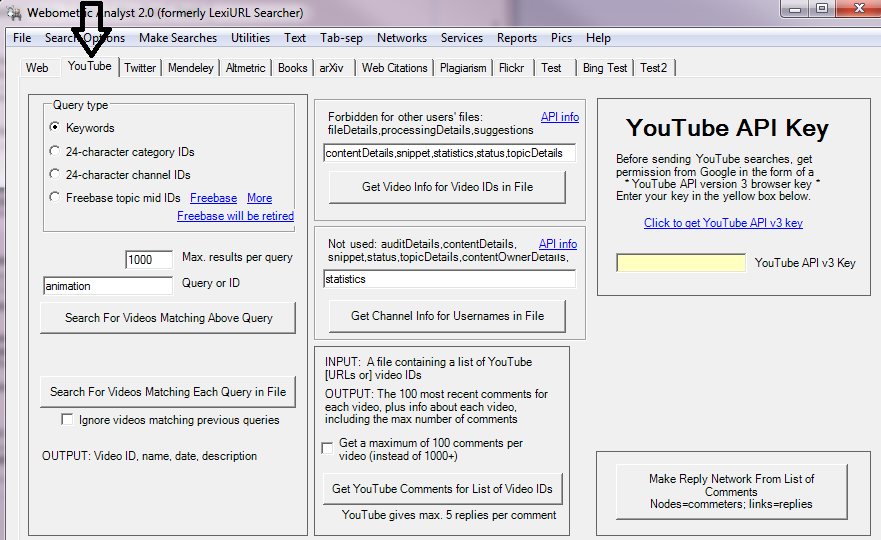 Getting data from YouTube with Webometric yst on